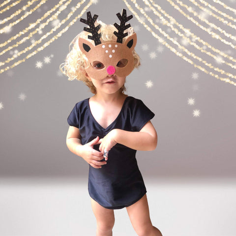 Accessories - Kids Reindeer Costume Face Mask, Rudolph Christmas Costume Face Mask, Child Reindeer Face Mask, Deer Face Mask, Toddler Reindeer Face Mask