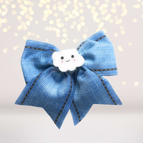 3 inch Blue Jean Hair Bow with cloud - Chicky Chicky Bling Bling, LLC