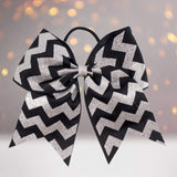 6.5  Glitter Chevron Gross Grain Christmas Cheer Bow - Chicky Chicky Bling Bling, LLC