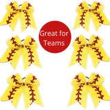 7 inch Glittery Softball Baseball Cheer Bow Large for Girls - Chicky Chicky Bling Bling, LLC