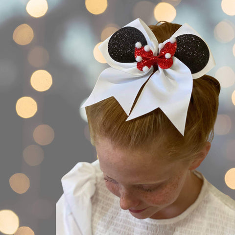 Hair Bow - 7 Inch Minnie Cheer Bow, Mouse Ear Cheer Bow Pony, Summit Bow