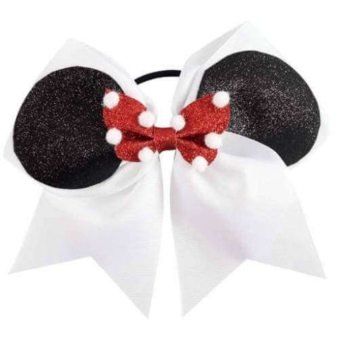 7 Inch Minnie Cheer Bow, Mouse Ear Cheer Bow Pony, Summit Bow - Chicky Chicky Bling Bling, LLC