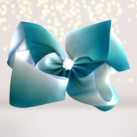 8 inch Teal Grosgrain Ribbon Ombre Hair Bow Clip - Chicky Chicky Bling Bling, LLC