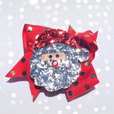"Girls 2.5"" Glitter Rudolph the Red Nose Reindeer and Santa Claus Christmas Hair Bow Clips - Chicky Chicky Bling Bling, LLC"