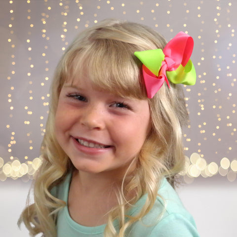 Girls 2 color Twist Chunky Hair Bows - Chicky Chicky Bling Bling, LLC