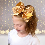 Girls 8 inch Metallic Grosgrain Boutique Hair Bow on Alligator Clip - Chicky Chicky Bling Bling, LLC