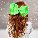 Girls 8 Inch Wide Basic Hair Bow on Alligator Clip - Chicky Chicky Bling Bling, LLC