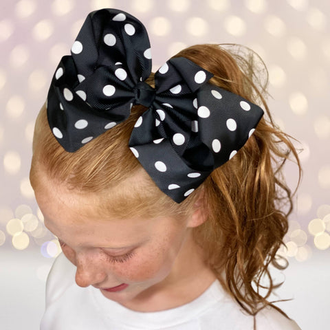 "Girls 8"" polka dot grosgrain hair bow - Chicky Chicky Bling Bling, LLC"