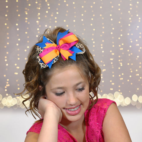 Hair Bow - Girls Animal Print Round Layered Boutique Hair Bow