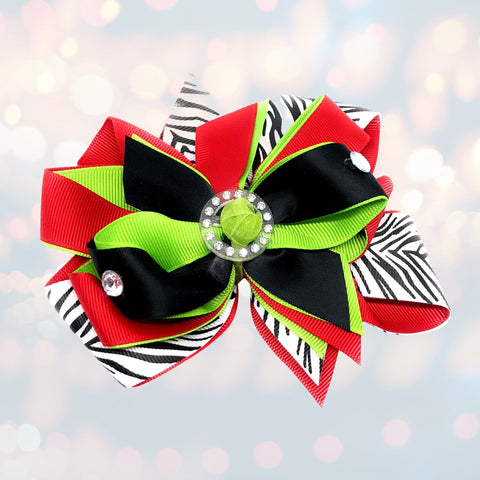 Girls Christmas Rocking Zebra Bling Hair Bow - Chicky Chicky Bling Bling, LLC