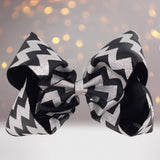 Girls Glitter Chevron Hair Bow, Glitter Hair Bow, Girls Glitter Holiday Bow - Chicky Chicky Bling Bling, LLC