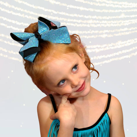 Hair Bow - Girls Large Sparkle Cheer And Dance Hair Bows