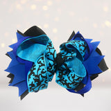 Hair Bow - Girls Layered Boutique Hair Bows, 5 Inch Fun Print Bows