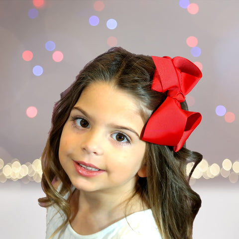 Hair Bow - Girls Medium Basic Hair Bow, Solid Ribbon Hair Bow