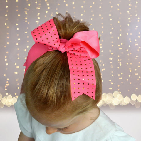 Girls Rhinestone Cheer Bow Ponytail, Bling Cheerleader Hair Elastic - Chicky Chicky Bling Bling, LLC