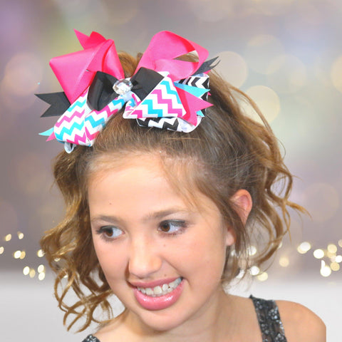 Hair Bow - Jumbo Boutique Hair Bow With Bling Stone