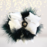 Hair Bow - Marabou Feather Flower Shaped Hair Bow, Marabou Boutique Bow