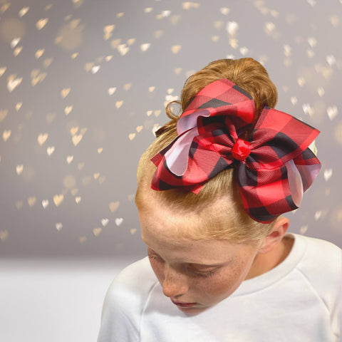 Hair Bow - Red And Black Plaid Hair Bow, Red Lumberjack Print Bow