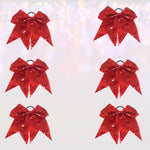 Hair Bow - Sequin Cheer Bow Bundle, Girls Sequin Cheerleader Bow Pony Bundle 6 Pack