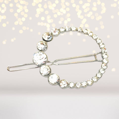 Hair Clip - Rhinestone Circle Hair Clips, Rhinestone Hair Pin