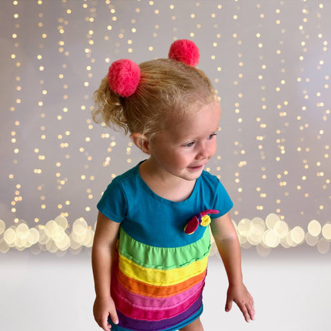 Hairband - Girls Fur Ball Pouf Pom Pom Ponytail Holder Elastic Hairband