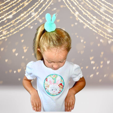 Hairband - Snow Bunny Pom Pom Fur Ball Hair Elastic Ponytail Holder With Rhinestone Snowflake