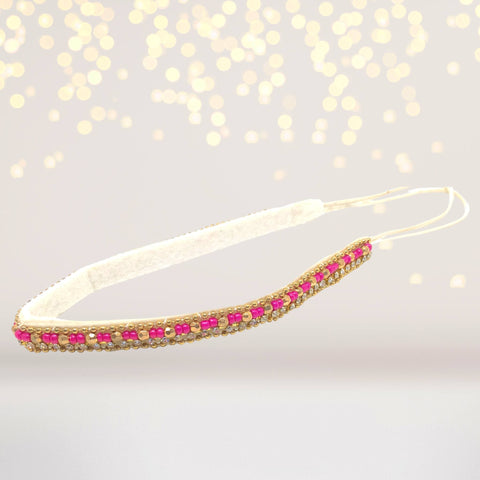 Fuchsia and Gold Bead Headband, Pink and Gold Beaded Headband - Chicky Chicky Bling Bling, LLC