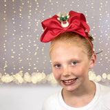 Girls Large Bow Christmas Headband Reindeer and Snow Man - Chicky Chicky Bling Bling, LLC