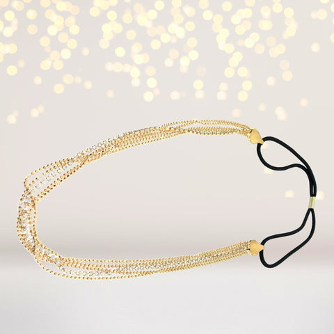 Headband - Glistening Strands Of Gold And Rhinestones Headband,Gold Gold Chain Headband