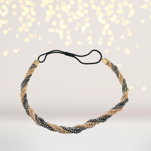 Headband - Pewter And Gold Twist Bohemian Headband