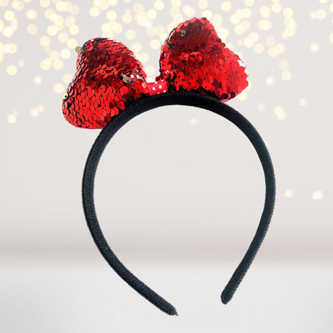 Headband - Reversible Sequin Bow Headband Minnie, Mouse Costume Accessory