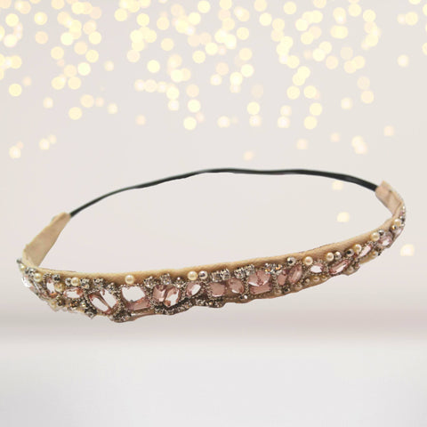 Headband - Vintage Wedding Headband, Champagne Rhinestones And Pearls Bridal Headband