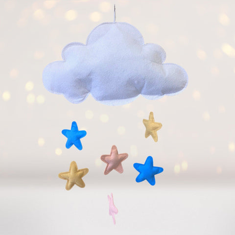 Home & Living - Cloud With Dangling Stars Wall Hanging Or Mobile