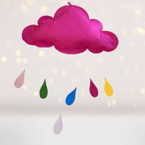 Home & Living - Hot Pink Cloud With Colorful Raindrops Wall Hanging Or Mobile