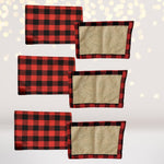 Home & Living - Reversible Red And Black Plaid Print, Lumberjack Print, Buffalo Check Print, With Faux Burlap, Christmas, Placemats And Table Runner