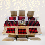 Home & Living - Reversible Red And Black Plaid Print, Lumberjack Print, Buffalo Check Print, With Faux Burlap, For A Country Cabin Look, Or Christmas, Placemats And Table Runner