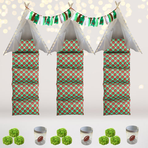 Party Bundle - Football Teepee Tent Slumber Party Kit, Football Birthday Party Decor, Party Favors
