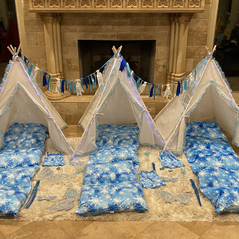 Party Bundle - Snowflake Tee Pee Tent Bundle For Kids Slumber Party