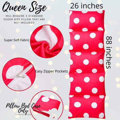 Pillow Bed Floor Lounger - Hot Pink Polka Dot Pillow Bed Floor Lounger