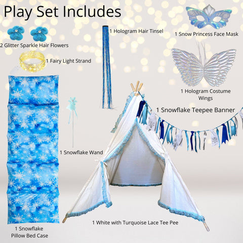 Play Set - Snowflake Princess Or Ice Fairy Tee Pee Tent Sleepover Gift Play Set