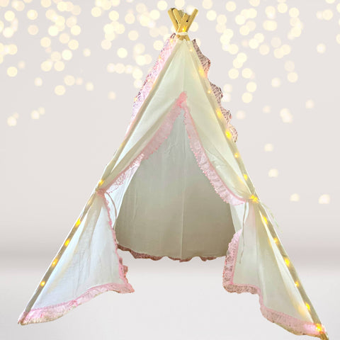 Tee Pee - Kids White And Pink Lace Tee Pee With Lights, Teepee Tent For Kids, Kids Fort