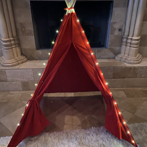 Tee Pee - Red Play Teepee With Lights, Fort, Tee Pee Tent For Kids