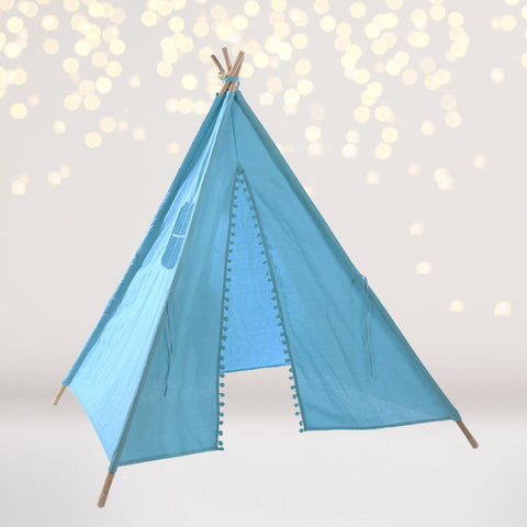 Tee Pee - Turquoise Tee Pee Tent With Pom Pom And Lights, Teepee For Kids