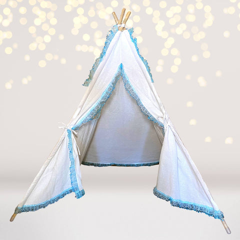 Tee Pee - White And Turquoise Lace Play Tee Pee, Fort, Tent