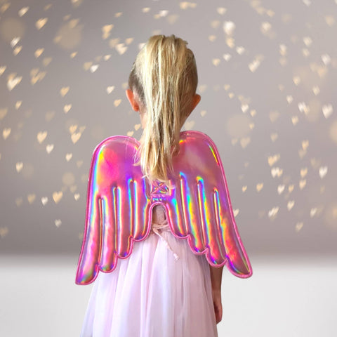 Wings - Girls Hologram And Glitter Angel, Unicorn, Fairy Costume And Dress Up Wings