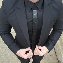 Hex Tie | Black Tie | Honeycomb on a black suit.