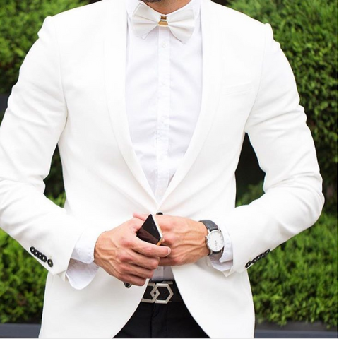 White Tuxedo with white bow tie