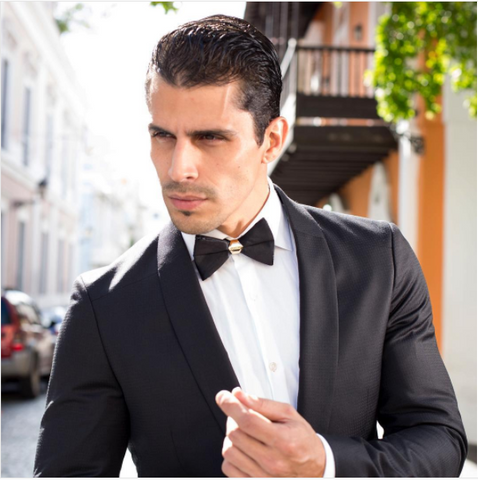 Black bow tie with black suit