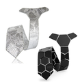 Silver Leather Tie + Honeycomb Tie