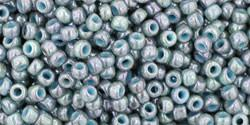 Toho 11/0 Round Japanese Seed Bead, TR11-1208, Marbled Opaque Blue